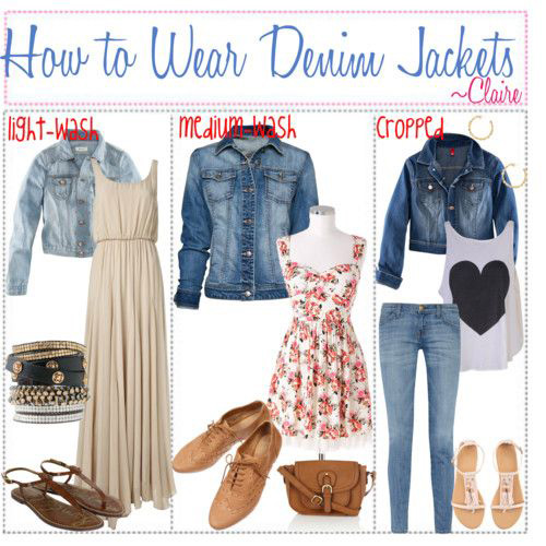 How to Wear a Denim Jacket. Make sure that your denim jacket fits you properly. Pairing your jacket with baggy jeans will create awkward proportions. Opt for slim fit jeans or trousers instead for the perfect denim jacket fashion. Integrate different colours such as grey, black or dark denim.